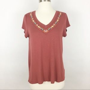 anthro | cable & gauge embroidered top sz medium